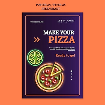 Abstract restaurant poster template with neon pizza