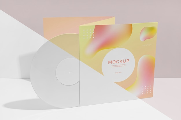 Abstract retro vinyl disk with packaging mock-up