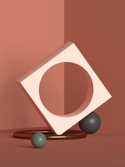 Абстрактная сцена геометрическая форма рендеринга подиума Premium Psd