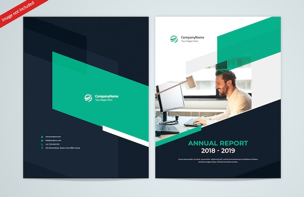 Abstract shapes annual report front and back covers