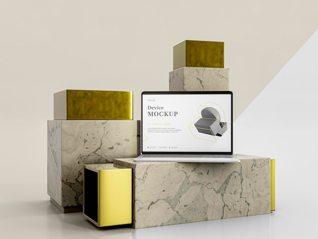 抽象的な石とラップトップ