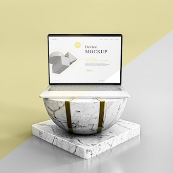 Abstract stone and laptop