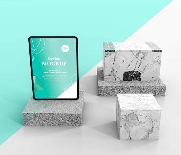 Abstract stone and tablet