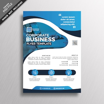 Abstract style blue business flyer template design