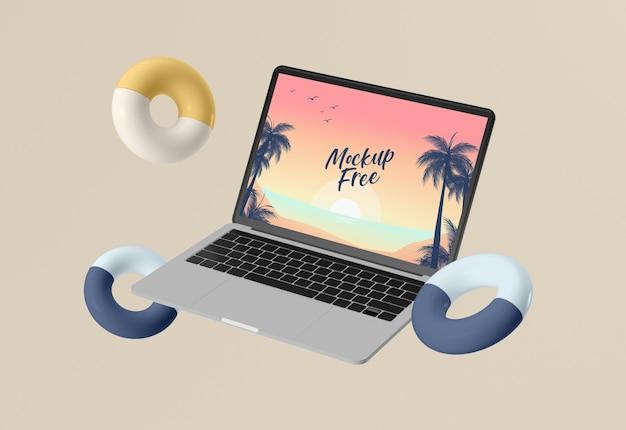 ノートパソコンで抽象的な夏のコンセプト