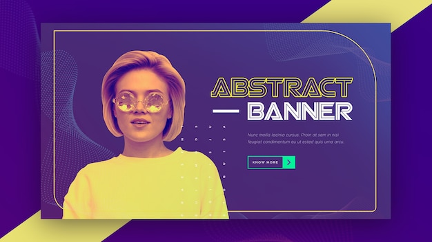 Abstract technology banner with woman wearing yellow shirt