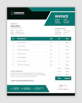 Abstract traditional style minimal invoice template