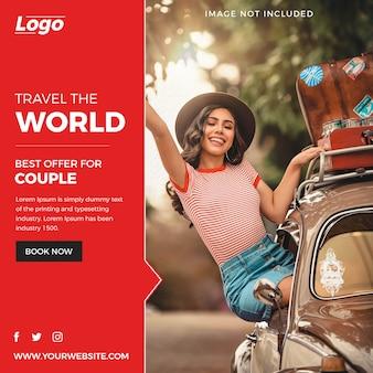Abstract travel social media post