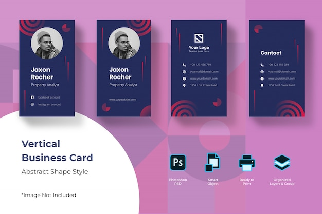 Abstract vertical business card template