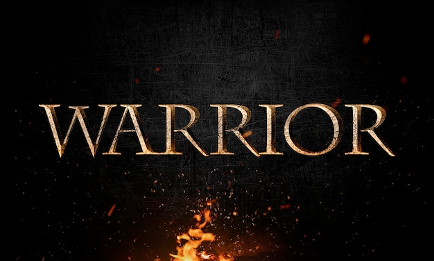 Abstract warrior lettering with grunge & metal effect in fire