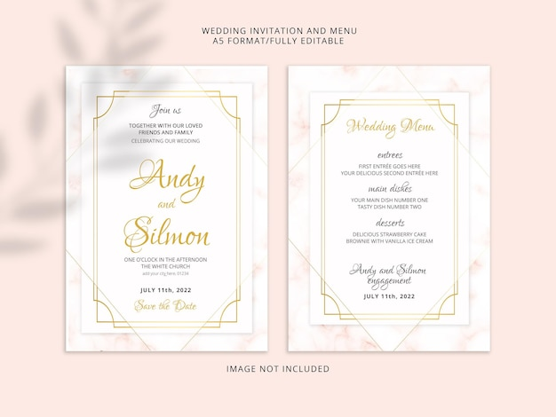 Abstract wedding invitation card with golden marble texture