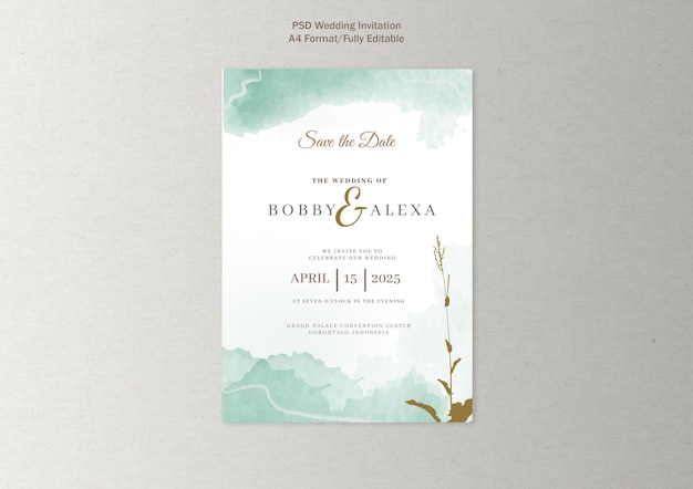 Abstract wedding invitation in watercolor
