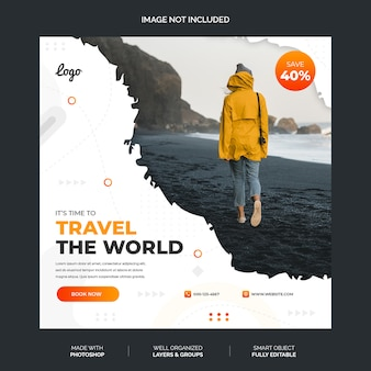 Abstract white and orange social media instagram template premium