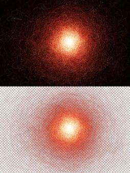輝く赤い丸いオーブと抽象