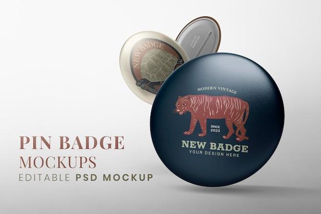 Set psd mockup pin accessorio, badge tigre