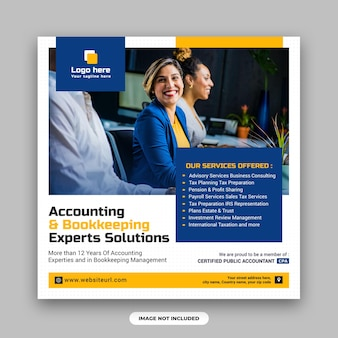 Решения для экспертов по бухгалтерскому учету и бухгалтерскому учету, шаблон для публикации в социальных сетях и веб-баннера