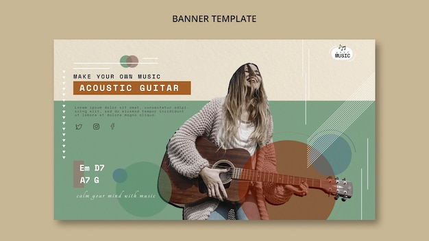 Acoustic guitar lessons banner template