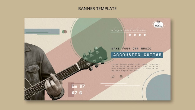 Acoustic guitar lessons horizontal banner