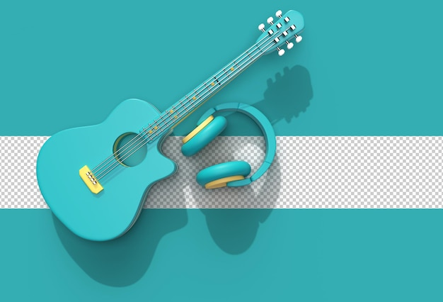 Acoustic guitar with music headphone transparent psd file.