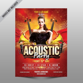 Acoustic party flyer mockup