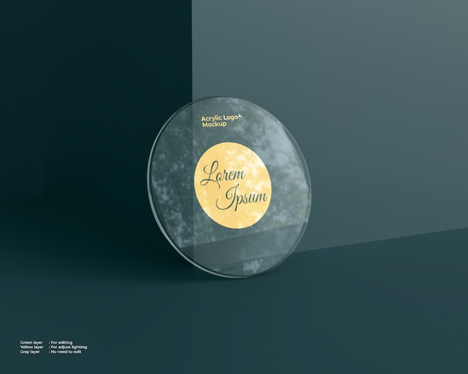 Acrylic glass logo mockup circle shape
