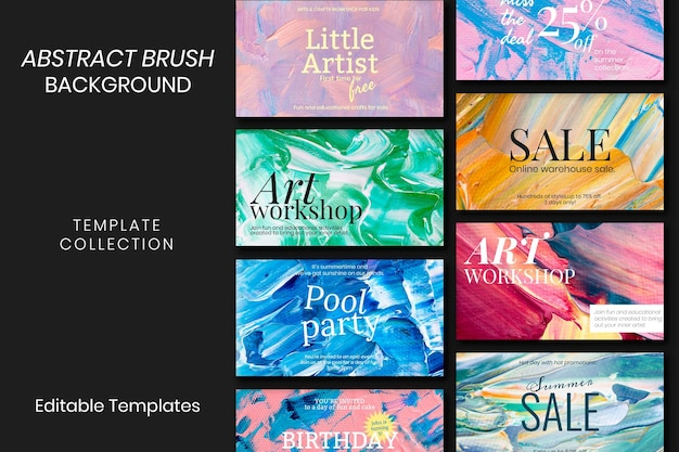 Acrylic paint textured template psd colorful aesthetic creative art banner set