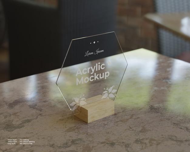 Acrylic sign holders mockup hexagon shape