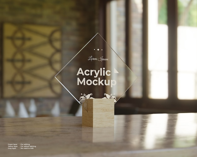 Acrylic sign holders mockup rhombus shape