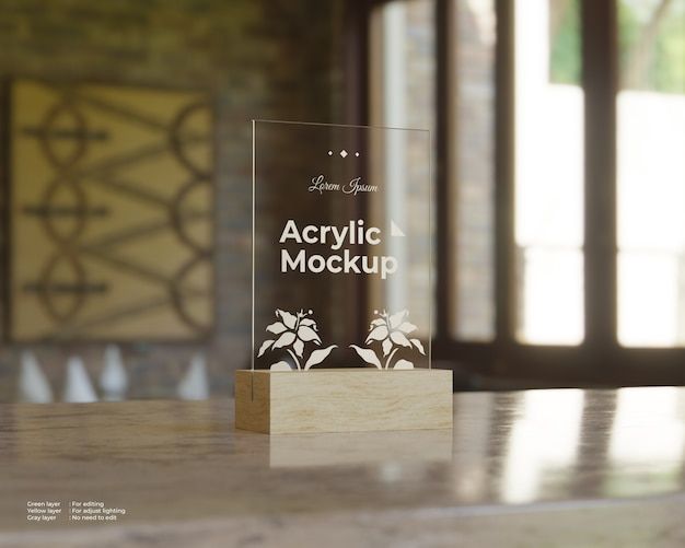 Acrylic sign holders mockup square shape