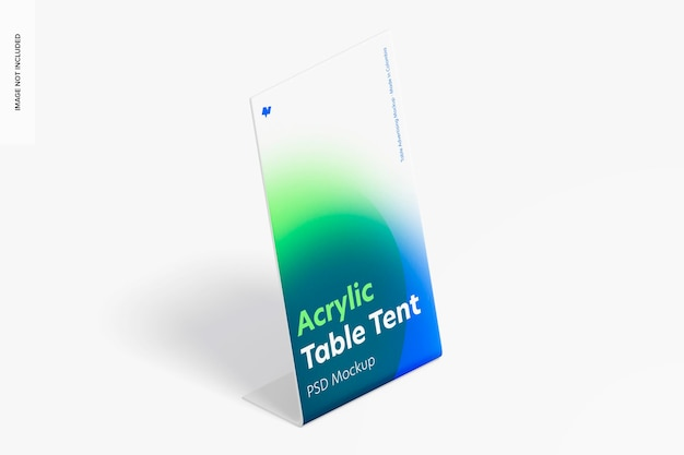 Acrylic table tent mockup, isometric right view