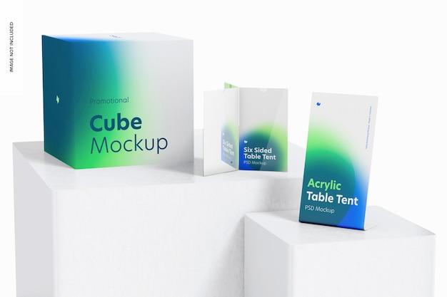 Acrylic table tent scene mockup, on podiums