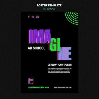 Poster modello di scuola pubblicitaria