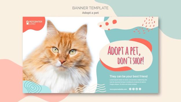 애완 동물 배너 템플릿 스타일을 채택 무료 PSD 파일