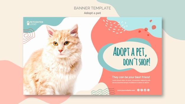 Принять животное баннер шаблон с кошкой