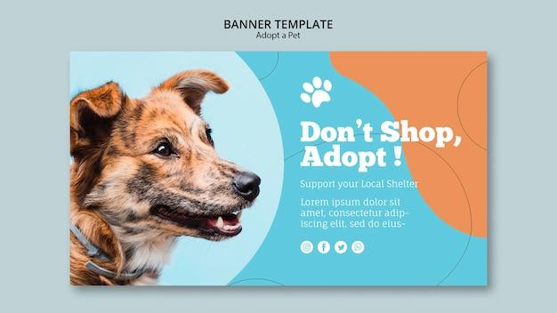 애완 동물 캠페인 배너 템플릿 채택