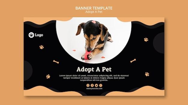 애완 동물 개념 배너 템플릿을 채택