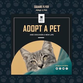 애완 동물 개념 사각형 전단지 서식 파일을 채택
