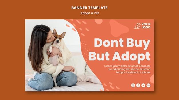 애완 동물 가로 배너 템플릿 채택