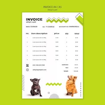 Принять шаблон счета-фактуры с домашним животным