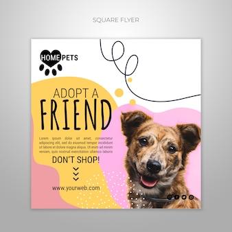 사진이있는 애완 동물 사각형 전단지 템플릿을 채택하십시오.