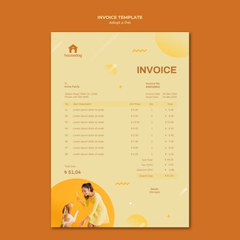 Adopt a dog invoice template