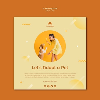 Adopt a dog square flyer template