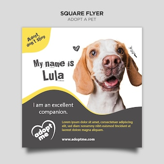 Adopt a dog square flyer Free Psd