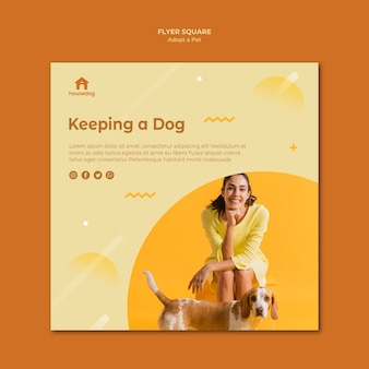 Adopt a dog template square flyer