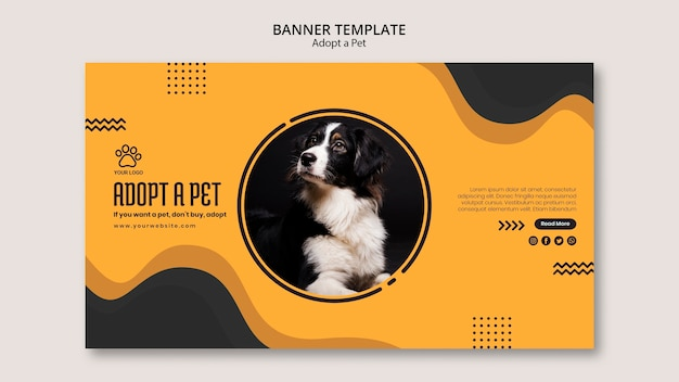Adopt a domestic pet banner template