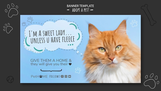Adopt a friend banner template with photo of cat