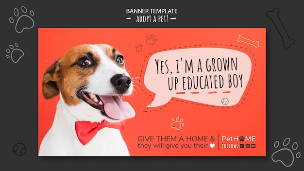 Adopt a friend banner template with photo of dog