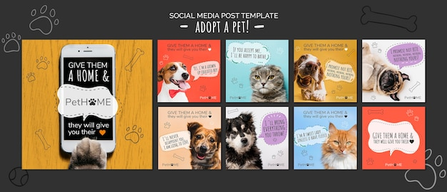 Adopt a friend social media posts template