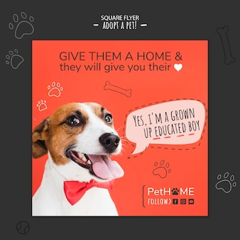 Adopt a friend square flyer template with photo