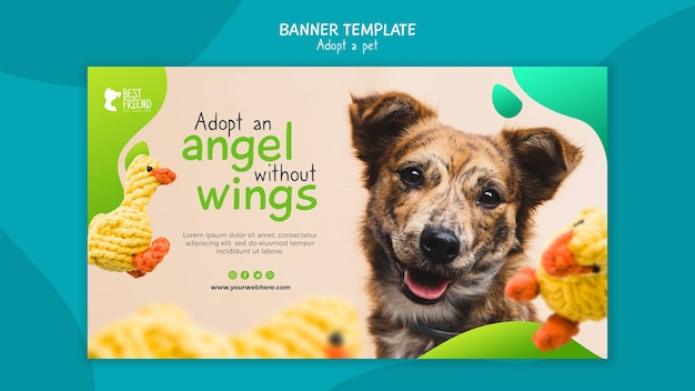 Adopt a friendly dog banner template